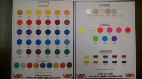 W.M. Plastics Color Guide With Actual Printed Samples