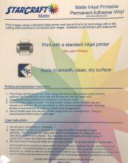 StarCraft Matte Inkjet Printable Permanent Adhesive Vinyl